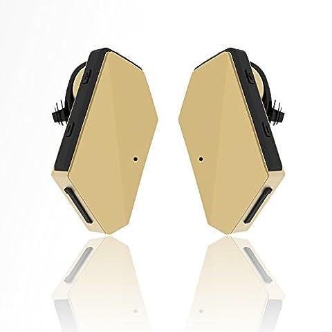 iVoler TB-01 Oreillette Bluetooth 4.1 Une Paire Truly Wireless Stéréo Casque Sans fil Sport Écouteurs avec Microphone, Annulation de Bruit, Mains libre pour Apple iPhone X / 8 / 8 Plus / 7 (Plus) / 6 (Plus) Samsung, Android, et d'autre Smartphone - Or