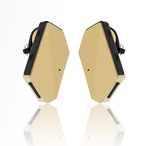 iVoler® TB-01 Bluetooth Kopfhörer 4.1 Truly Wireless Headphones Stereo In Ear Ohrhörer mit Mikrofon/aptX, Noise Cancelling Dual Sport Earphone Headset für Apple iPhone 7 6 Plus Samsung Android & Weitere (Gold)
