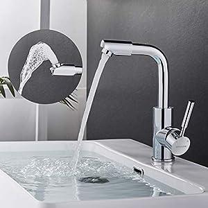 BONADE Wasserhahn 360° drehbare Armatur für Bad Waschtischarmatur Chrom Badarmatur aus Messing Einhebelmischer Waschbecken Mischbatterie für Badezimmer Spülbecken