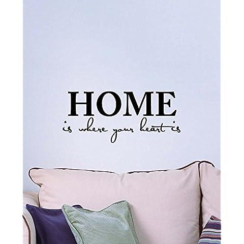 Casa è Dove Il Cuore È Amore Cute Wall Art Decor in vinile da parete Citazione Lettering Stencil