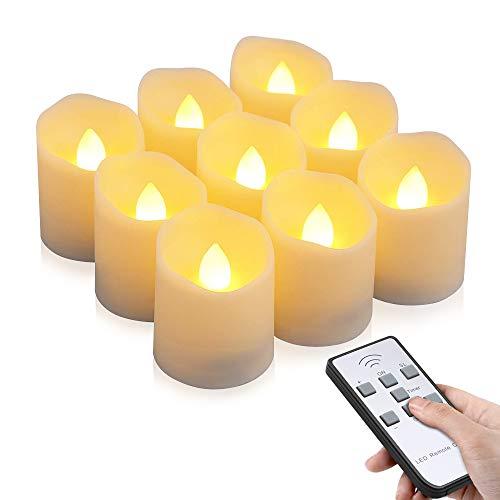 LED Kerzen, otumixx 9 LED Flammenlose Teelichter, Flackern Kerzen, Elektrische Kerze Lichter Fernbedienung mit Timerfunktion Warmweiß Dekoration für Weihnachten, Party, Hochzeit (Batterien Enthalten)