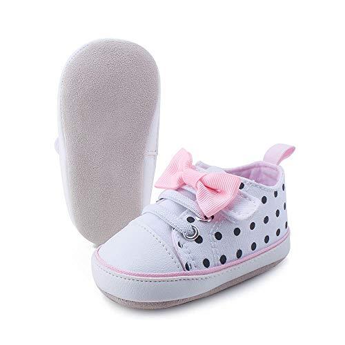 OOSAKU Baby Mädchen Weiche Wildledersohle Leder Schuhe Kleinkind Neugeborene Schleife Hausschuhe, Weiß - weiß - Größe: 9-12 Monate (Kleinkind-hausschuhe Größe 11)