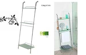 Hochwertiges badregal badezimmer leiter mit drei ablagen aus sicherheitsglas messing hochwertig - Leiter badezimmer ...