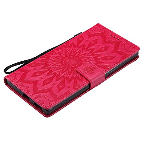 LEMORRY Sony Xperia XA1 Ultra Custodia Pelle Cuoio Flip Portafoglio Borsa Sottile Bumper Protettivo Magnetico Morbido Silicone TPU Cover Custodia per Sony Xperia XA1 Ultra, Fiorire (Oro Rosa) Rosso