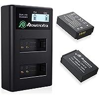 Powerextra Canon LP-E12 Batería de Repuesto 2 Baterías con Cargador Doble para Canon LP-E12 y Canon EOS M, EOS M50, EOS M100, EOS Rebel SL1, EOS 100D