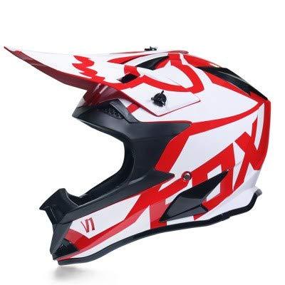 Dabobo Casco moto adulto casco integrale moto uomo donna mountain bike off road caschi rosso V1,XL