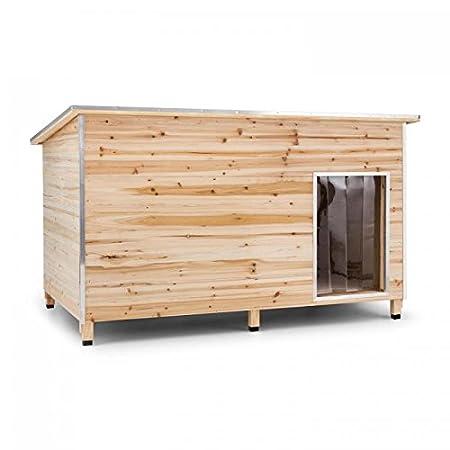 OneConcept Schloss Wuff L oder XL – Hundehütte in L-Format, Echtholz-Hütte, Dach aufklappbar, extra groß: 110 x 160 x 100 cm oder 120 x 90 x 90, Dach aufklappbar, 10 cm hohe Standfüße, braun