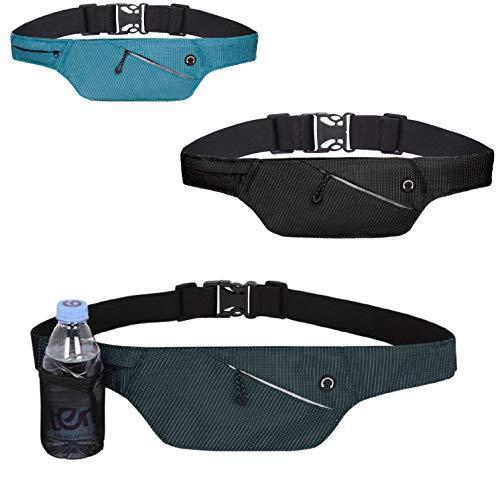 4Good Flache Bauchtasche mit RFID Schutz/Running Belt Laufgürtel Hüfttasche Reisetasche Wandertasche Damen (Navi Blau) - Flache Warenkorb