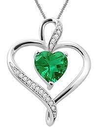 """Silvernshine Women's 1.25 Ct Heart Cut Emerald & Diamond Pendant Necklace, 18"""" .925 Silver Chain"""