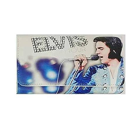 Womens Ladies Elvis Presley On Tour Diamante Faux Leather Large Purse Wallet-White