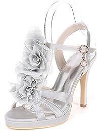 Qingchunhuangtang@ Temperament Celebrity/Satin/Stiletto Heels Peep-toe Blumendekoration Sandalen Prom Modelle...