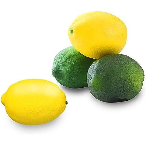 Gosear 4 piezas Espuma Artificial Simulación Realista Sólido Amarillo y Verde Limón Modelo / Falso Fruto para Decoración