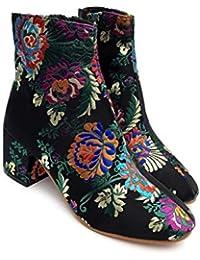 JUWOJIA Botas para Mujer Otoño E Invierno Botas Cortas Bordado De Flores Tacones Gruesos Botas Martin Zapatos De Novedad De Tacón Alto, Negro, 8