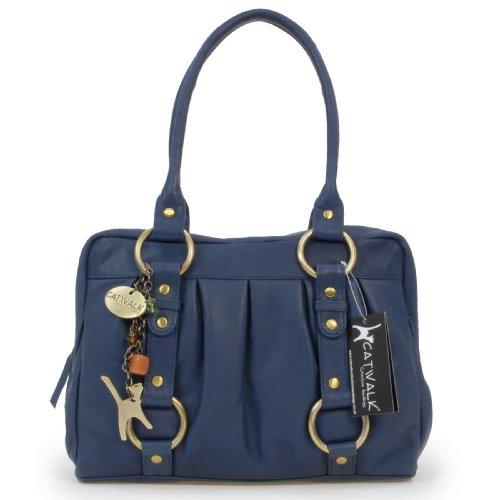 Lederhandtasche Megan von Catwalk Collection - GRÖßE: B: 29,5 H: 19,5 T: 12 cm Blau