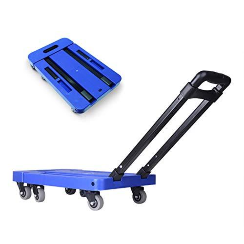Laufkatzen Faltwagen Sackwagen Werkzeugwagen Ziehen Sie Gepäck Universalrad Einkaufswagen Kaufen Sie Kleinen Wagen Multifunktionswagen, Tragend, Ca. 200kg (Color : Blue, Size : 47 * 30 * 91cm)