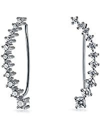 Bling Jewelry Graduated CZ Modern Curve Sterling Silver Ear Pin Crawler Earrings