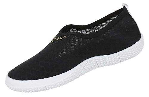 Damen Schuhe Slipper Halbschuhe Freizeitschuhe Schlupfschuhe Sneaker Schwarz
