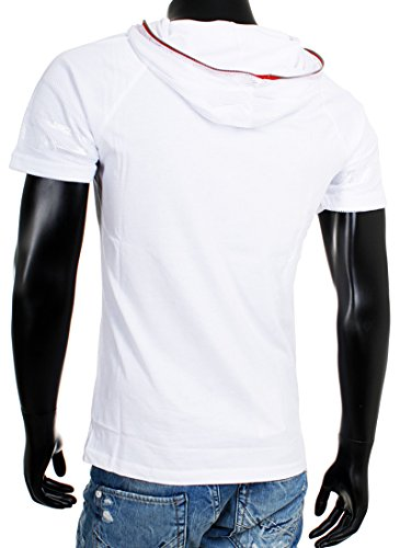 Young & Rich Party Herren Kurzarm T-Shirt mit Kapuze in 2 Farben White