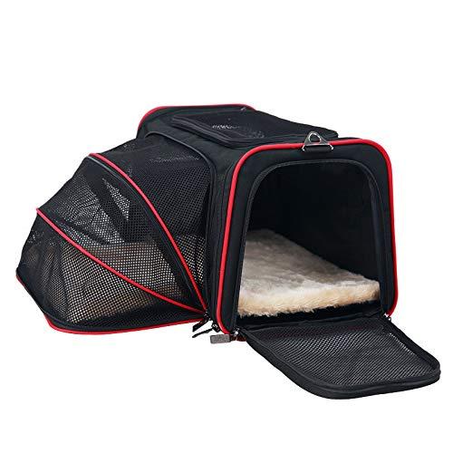 YSYPET Pet Outdoor Tragbare Falten Leichte Soft-Side Stoff Reise Tragetasche Kiste Paket Atmungsaktive Sitz Tote Fahrzeugsicherheit, schwarz A, S-40X25X25CM