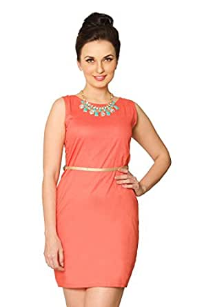 Miss Chase Women's Cotton Shift Dress (MCS14D02-15-20_Coral_Large)
