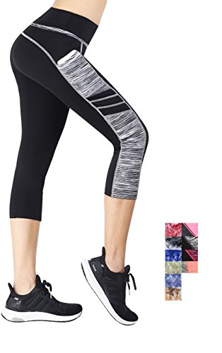 Munvot Tailored Geschenke Tummy Control Yoga Pants Sport Leggings Hohe Taille Fitnesshose Blickdichte Leggings Sporthose Strech Sweathose Schwarz Grau (Kurze Hose) M (Taille Hose Hohe Wide Leg)