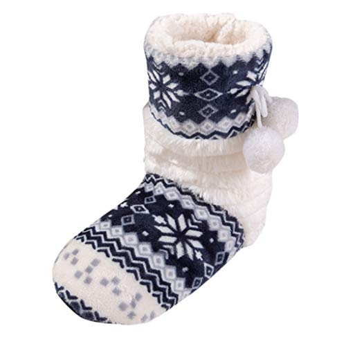 Xuthuly Damen Winter Flat Cotton Floral Ball Lange Röhre Schuhe Boot Home Ladies Boots