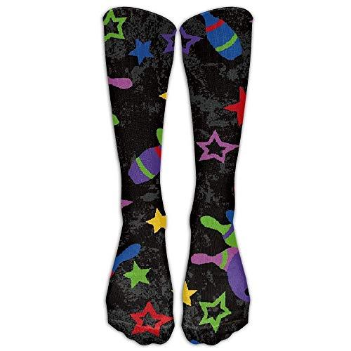 (ruishandianqi Bowling Striking Stars Unisex Novelty Mid-Calf Socks Athletic Tube Stockings Size 6-10)