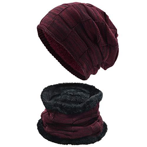 UPhitnis Warme Beanie Herren Damen - Mütze Long Slouch - Wintermütze mit Kariert Strickmuster Sehr Weichem Fleecefutter