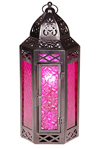 e aus Metall & Glas Liyana 30cm | orientalisches Windlicht | Marokkanische Glaslaterne für innen | Marokkanisches Gartenwindlicht für draußen als Gartenlaterne (Lila) ()