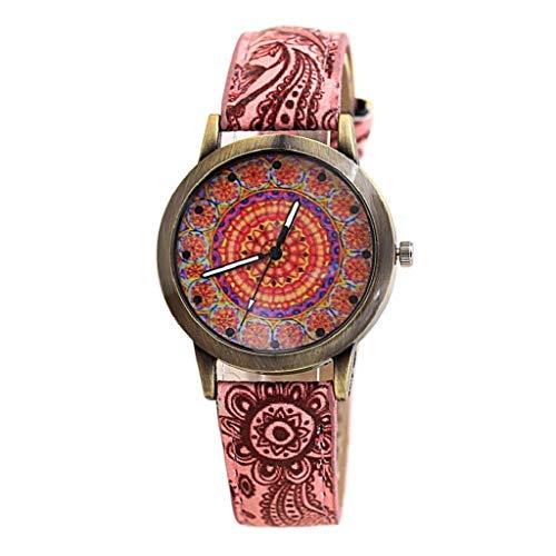 VJGOAL Damen Uhren, Frauen Mädchen Ultradünne Elegant Armbanduhren Mode Trend Minimalistisches Kontrastfarbe Freizeit Blaues und Weißes Porzellan Bronze Drucken ()