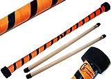 TWIST Devilstick (Orange/Schwarz) inkl. Holz Handstäbe mit 2 mm Silikonmantel von Flames N Games Devil stick Set Für Kinder und Erwachsene.