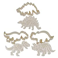 Dinosaur Cookie Cutters Set - 3 Pieces Acrylic Cookie Cutters with Stampers - Fondant Cutter for Cake Decorating, Pastry and Sugarcraft work - Dinosaur Shape Baking Moulds for Kids