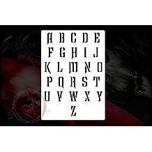 Ruined Texto letras Plantilla Stencil