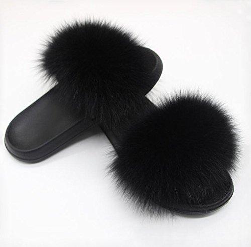 Twgdh infradito pantofola piatta pelliccia sintetica soffice pelliccia sintetica antiscivolo sandali infradito da bagno all'aperto per esterni,black,42