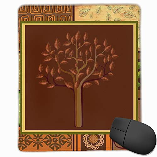 Mouse Mat Stitched Edges, Tree Figure On Ethnic Tribal Motifs Leaf Floral Ornaments Native Folk Patterns,Gaming Mouse Pad Non-Slip Rubber Base -