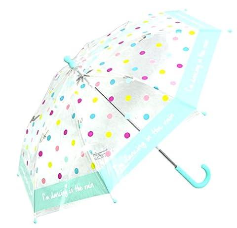 Kinder Regenschirm Stockschirm transparent durchsichtig Punkte Mädchen klein