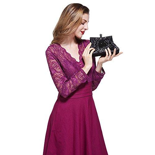 H:oter® Collection Damen Handgemachte Perle Handtasche, Abendtasche Damen Clutch Für Party, Hochzeit Y-Schwarz