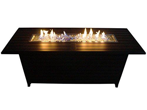 Traedgard Design Feuertisch Florenz | 144x54x62 cm | Gas Feuerstelle und Gartenfeuer | mit Flammenschutz aus Glas, Glasperlen, Hülle und Zubehör -
