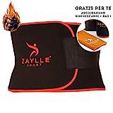 Zaylle® - Fascia Dimagrante Addominale Uomo Donna - Cintura Effetto Sauna - 2a Generazione Ideale per Casi di Ritenzione Idrica - Pancera Snellente - in Omaggio Asciugamano Palestra Refrigerante