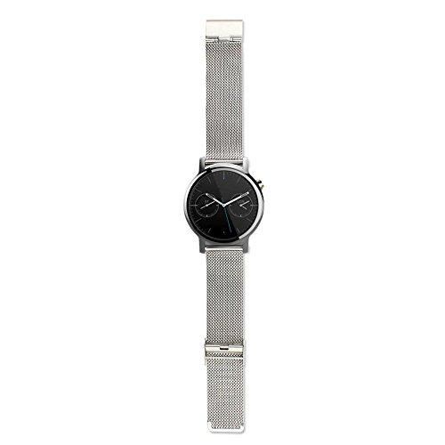 Gossip Boy Frau Edelstahl Milanaise Armbanduhr bandstrap für Motorola Moto 3602nd 42mm Silber silber (Uhr-band-extender-kit)