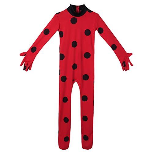 Tiaobug Mädchen Overall Ganzkörper Maske Cosplay Jumpsuit Body Suit Rot Anzug Weihnachten Halloween Kostüme Kinder Karnevals Faschingskostüme (Halloween-kostüm Lady Bug)