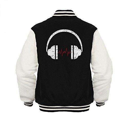 Fashionalarm Herren College Jacke - Heartbeat Headphones | Varsity Baseball Jacket | Sweatjacke mit Kopfhörer für Musikliebhaber Schwarz / Weiß