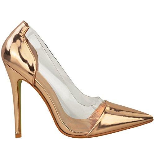 Donna Perspex Trasparente Tacco A Stiletto Sandali Da Cerimonia Slip-on Scarpe Décolleté Misura rosa dorato metallizzato