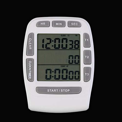 Heaviesk 1 Stück Triple Timer Clock Küche Kochen 3-Zeilen-Alarm LCD Digital Countdown (2 Zeile Lcd)