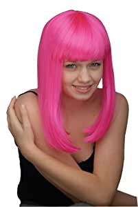 Neon Pink Straight Shoulder Length Fringe Bob Rave Wig