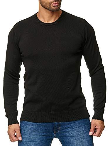BARBONS Herren Pullover mit Rundhals - Slim-Fit - Hochwertige Baumwollmischung - Feinstrick-Pullover - Schwarz 2XL