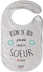 """Petit Boucan""""besoin de rien j'ai une grande soeur"""" - bavoir bébé unisexe -100% coton doux - doub"""