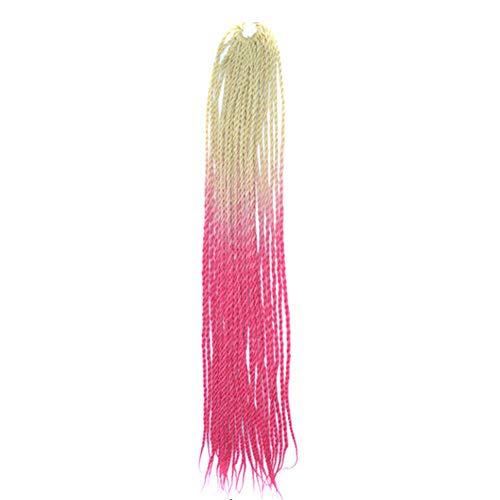 Luckhome Ombre Haar synthetische Spitze-Front-Perücke weiche volle Perücken Frauen Farbverlauf Twist Häkeln Zöpfe Perücken Extensions Kunsthaar Natur(I)