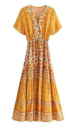 Lange Tanz-Rock-Frau Kurzärmeliges Blumendruck Herbst Kleid Großer Boho Graceful eine Linie Frauen-Rock-Strand-Hochzeit GUE Rayon Womens Party-kleid
