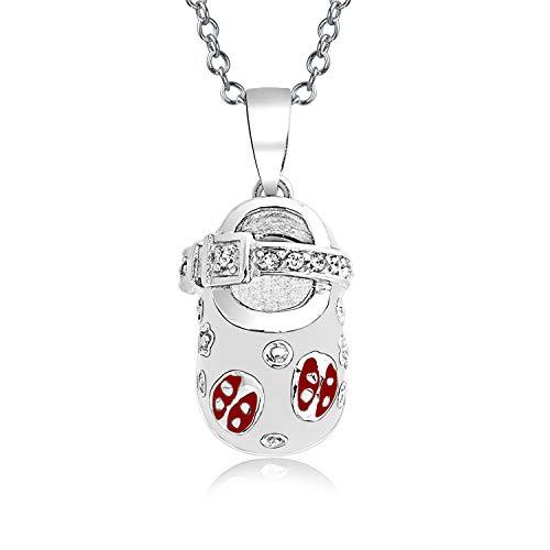 Baby Schuh Charm Anhänger Halskette Für Neue Mutter Damen Weiß Rot Marienkäfer CZ Herz Gravierbaren Sterling Silber (Baby-schuh-charme)